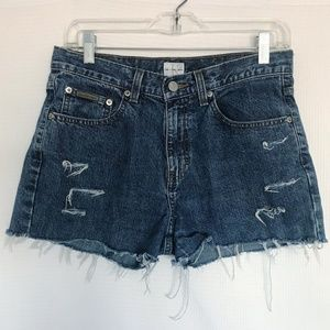 CK High Waisted Mom Jean Shorts Distressed Cut Off
